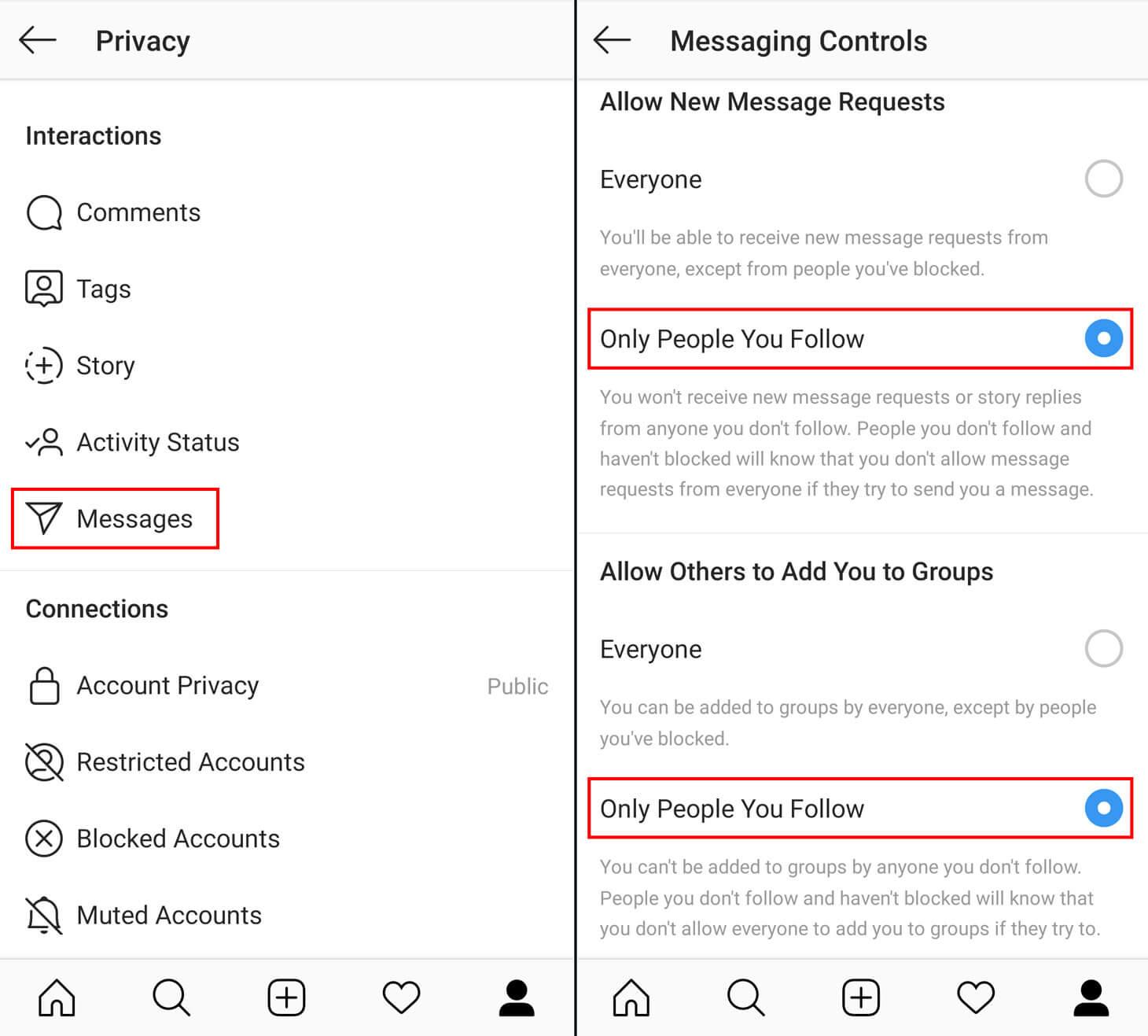 جلوگیری از پیام های اسپم در دایرکت اینستاگرام