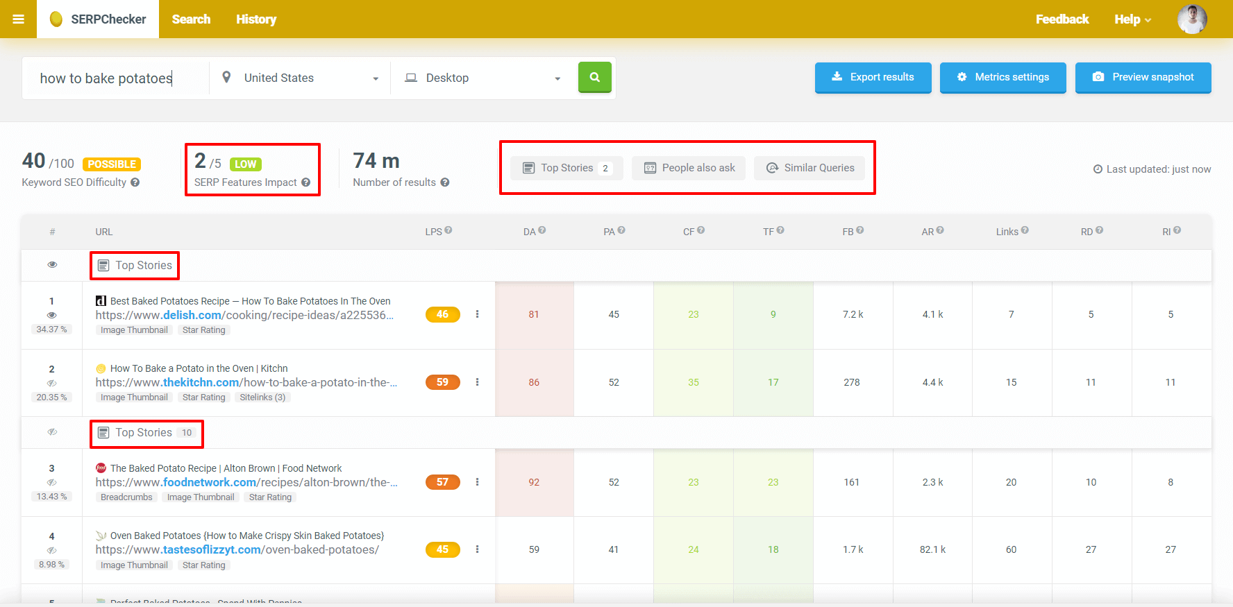 ابزار نتایج جستجو و ویژگی های SERP